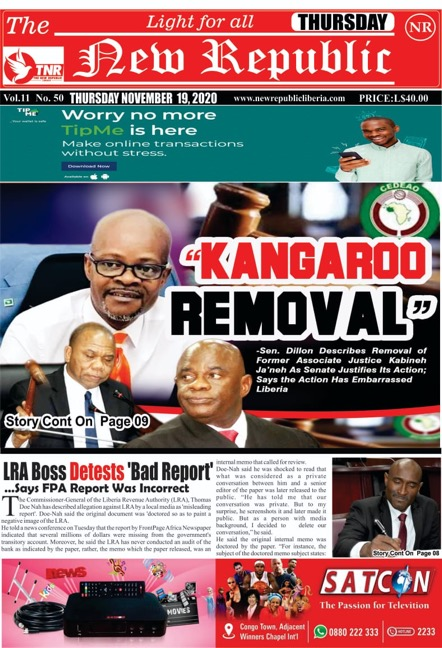 """""""KangarooRemoval""""       …-Sen. Dillon Describes Removal of Former Associate Justice Kabineh Ja'neh As Senate Justifies Its Action; Says the Action Has Embarrassed Liberia"""